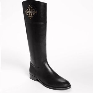 Tory Burch Black Leather Logo Riding Boots